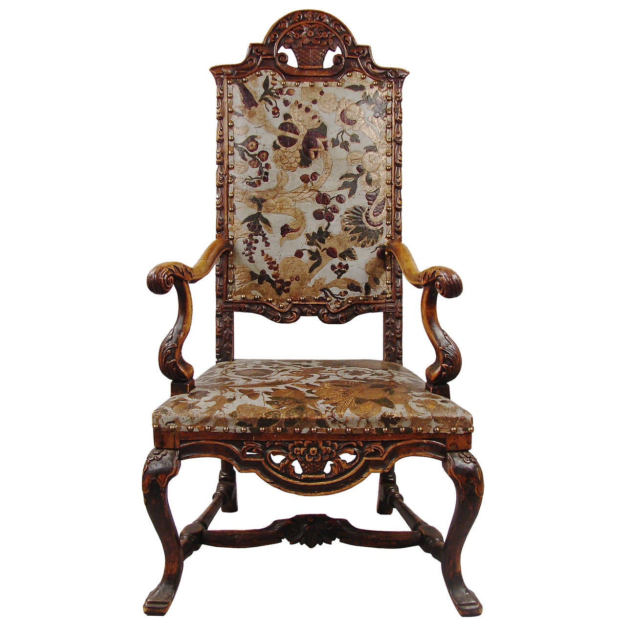 baroque style walnut leather upholstered armchair at 1stdibs