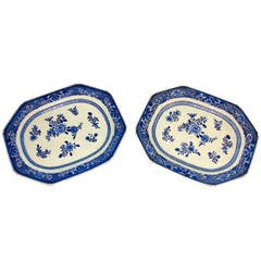 Pair of 19th Century Chinese Export Octagonal Platters
