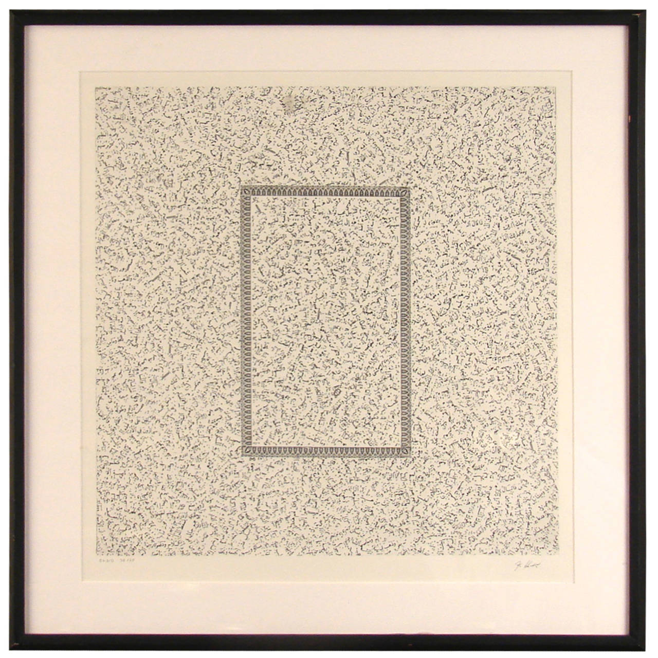 Jiri Kolar Abstract Etching on Paper, Framed 1