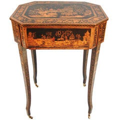 Pretty English Chinoiserie Black and Gilt Work Table with Drawer