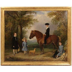Lovely English Large Scale Oil on Canvas Family Portrait