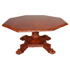 Highly Carved English Oak Octagonal Center Table