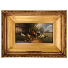 """Oil on Wood Panel """"Barnyard Fowl"""" by Charles Hofmann, German/American"""