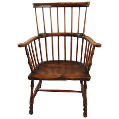English Elm and Hickory Comb Back Windsor Armchair