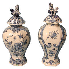 Pair of Delft Blue and White Covered Vases with Spider Web Motif