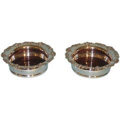 Pair of English Sterling Silver Wine Coasters