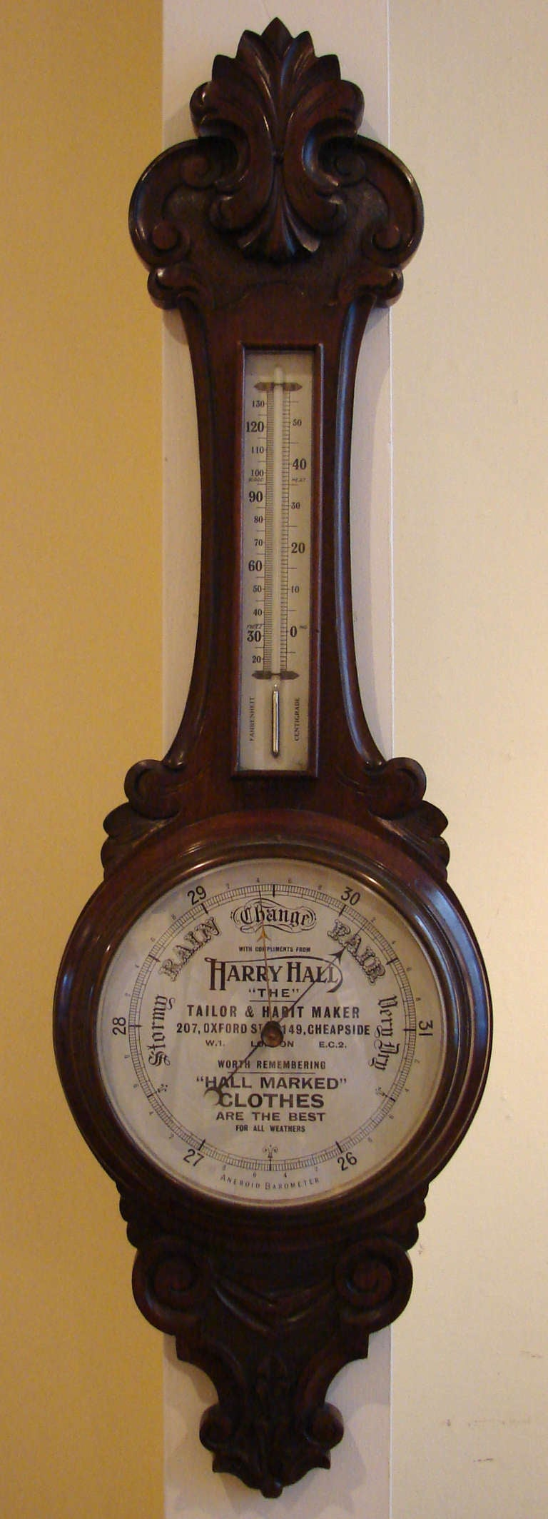 Victorian Advertising Aneroid Barometer And Thermometer At 1stdibs How To Build Electronic Torricelli A Carved Oak Mercury