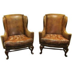 Pair of Vintage Leather Wingback Chairs