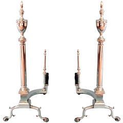Tall Federal Style Brass Andirons