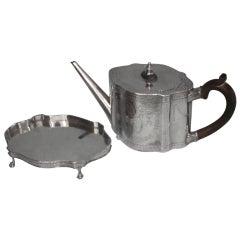 Regency Sterling Tea Pot on Original Stand Stand