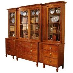 Elegant Regency Parcel Ebonized Mahogany Breakfront Bookcase