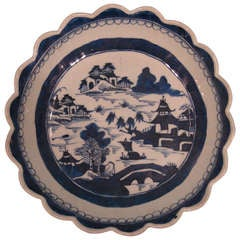 Chinese Canton Blue and White Scalloped Edged Bowl