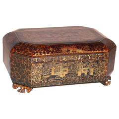 Chinese Export Lacquer Hexagonal Sewing Box