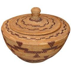 Yokut bottle-neck lidded basket