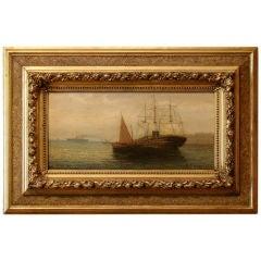 Oil on panel harbor scene by R. Rauger