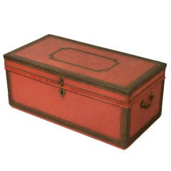 China Trade Leather Covered Camphor Chest