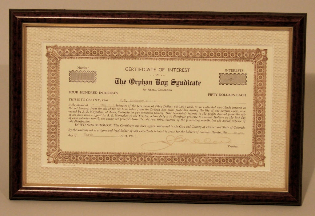 Certificate of Interest for The Orphan Boy Syndicate.