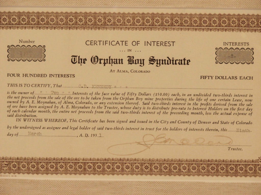 Certificate for The Orphan Boy Syndicate 3