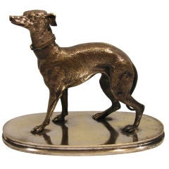Silvered Cast Bronze Model of a Greyhound