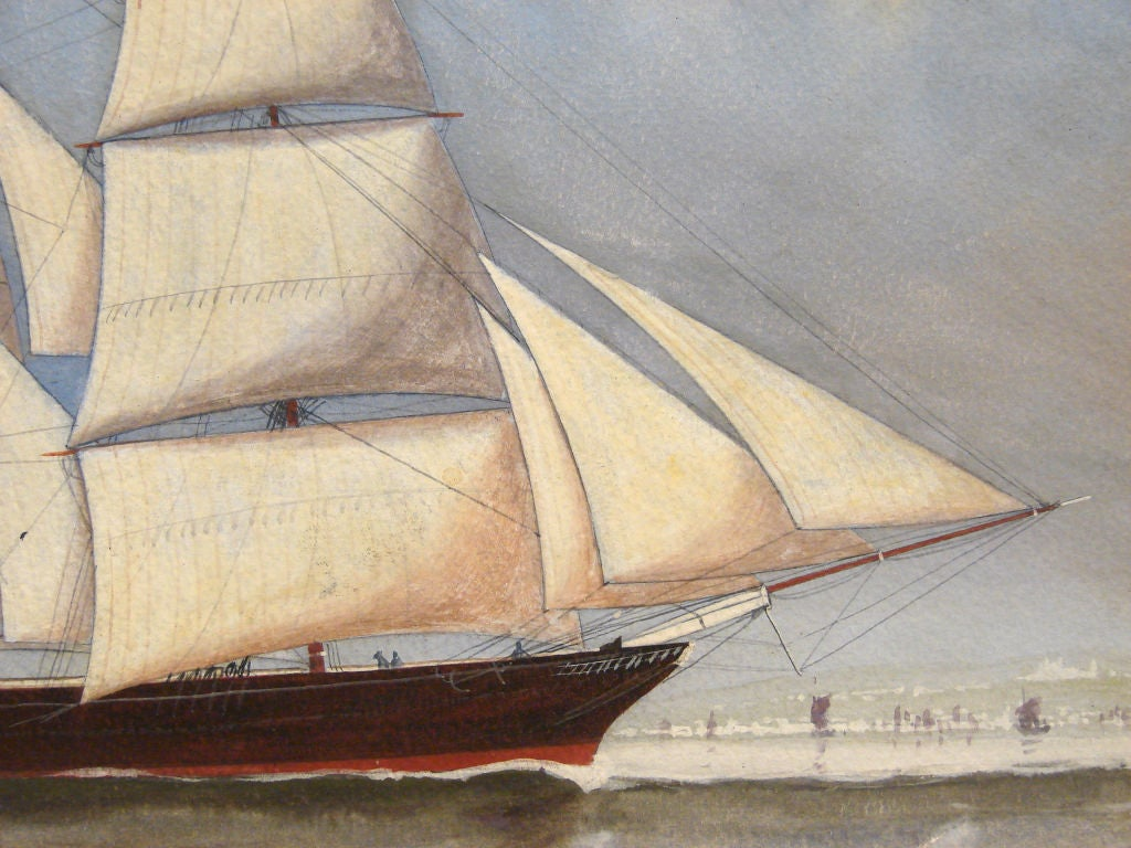 English Watercolor of a  Sailing Ship For Sale 1