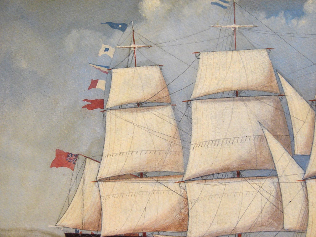 English Watercolor of a  Sailing Ship For Sale 2