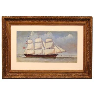 English Watercolor of a  Sailing Ship