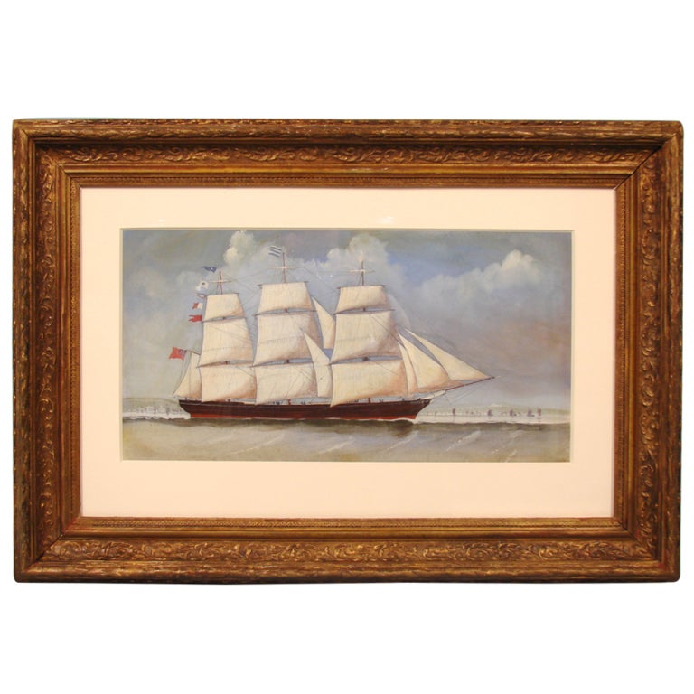 English Watercolor of a  Sailing Ship For Sale