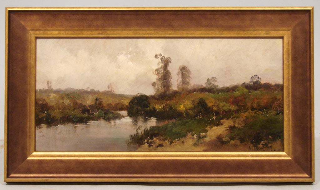 Paysage a la Riviere and Village au bout du Chemin by Eugene Galien-Laloue (1854-1941), French School, oil on board, late 19th century. Signed Dupui (one of the various names used by LaLoue during his career)