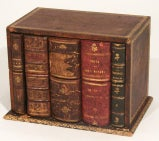 French tooled leather letter box in the form of 5 antique books