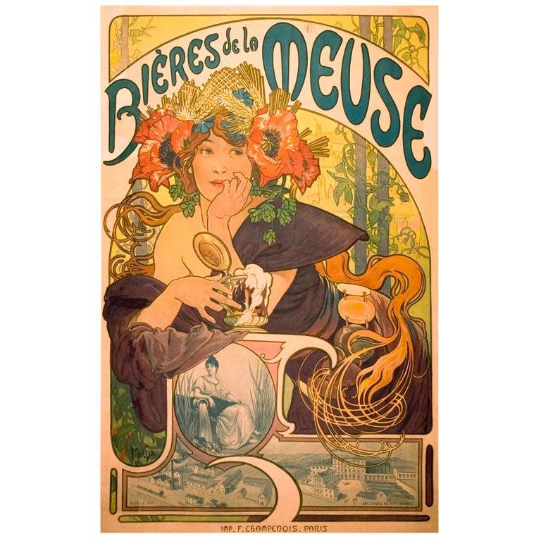 Original Mucha Art Nouveau Poster at 1stdibs