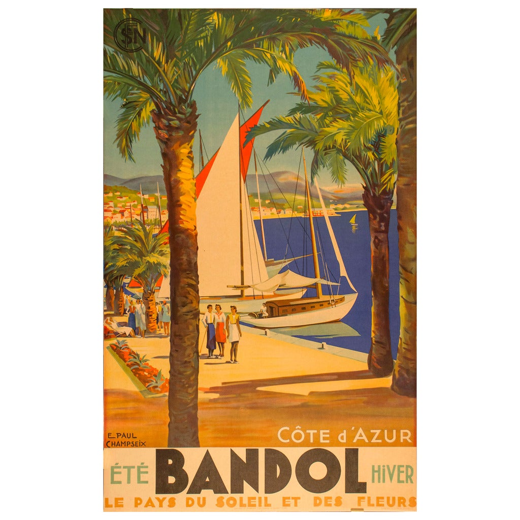 Vintage Travel Trailers: Original French Vintage Travel Poster For Bandol In The