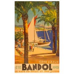 Original French Vintage Travel Poster for Bandol in the Cote d 'Azur