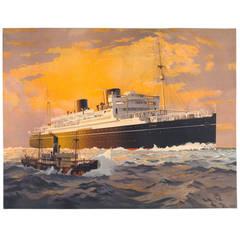 Original Vintage Shipping Poster by Harry Hudson Rodmell, horizontal format
