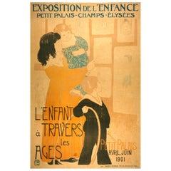 """Dufau """"L'Enfant a Travers les Ages, 1901 large antique French poster"""