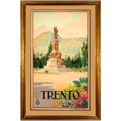 Rare Vintage Travel Poster for Trento Italy
