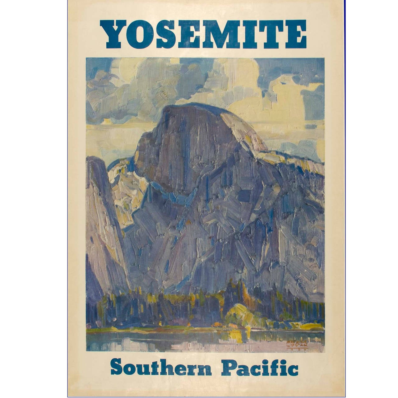 Yosemite Poster Winter Vintage: Vintage Southern Pacific Poster Featuring Yosemite For