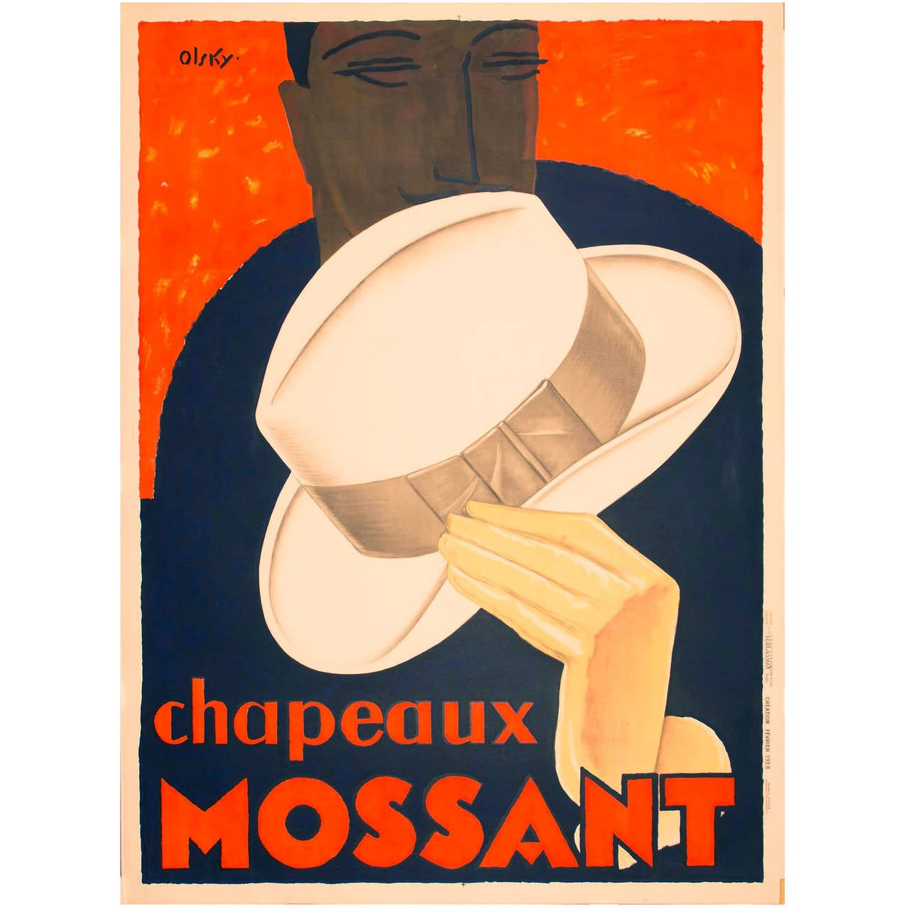 Original French Art Deco Chapeaux Mossant Poster by Olsky For Sale