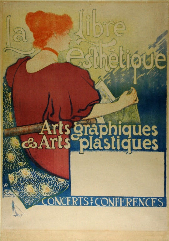 Both rare and historically important, this original poster is an excellent example of the important avant-garde painter Theo vanRysselberghe's graphic work and is a significant piece of Belgium Art Nouveau. VanRysselberghe designed this