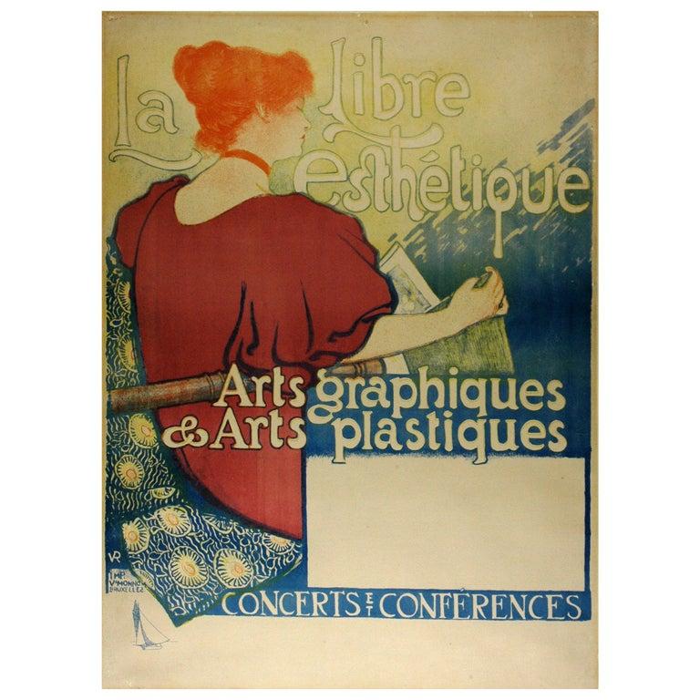 Theo vanRysselberghe's 1896 Art Nouveau Poster for La Libre Esthetique For Sale