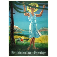 Vacation Days - Original 1943 Swiss Travel poster by Steiner