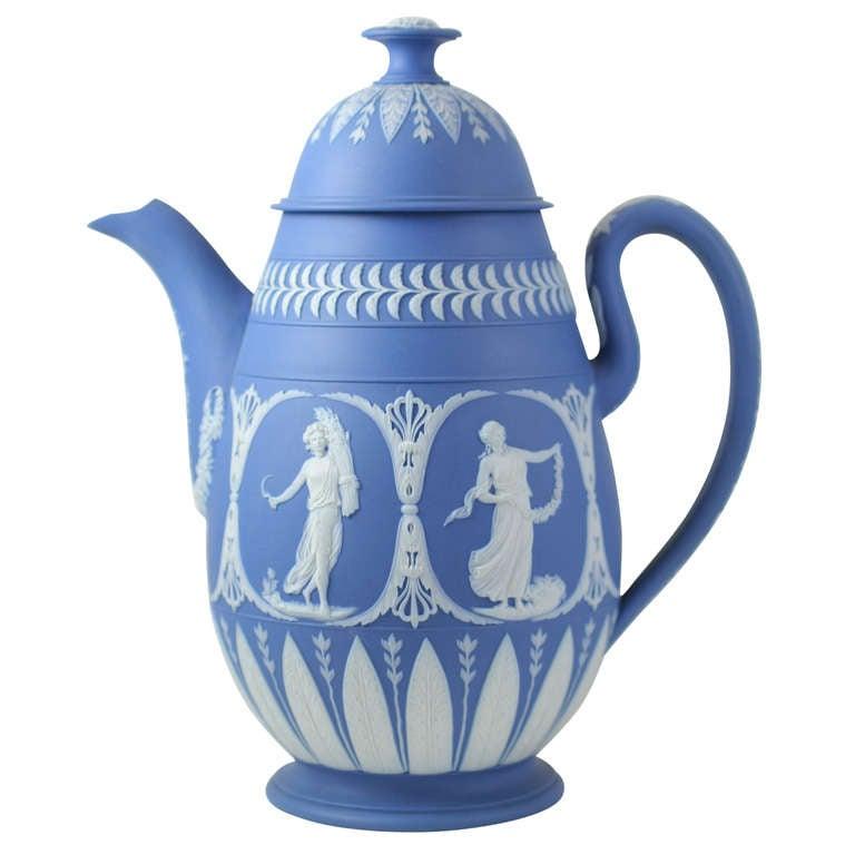 Adams Blue And White Jasper Coffee Pot At 1stdibs