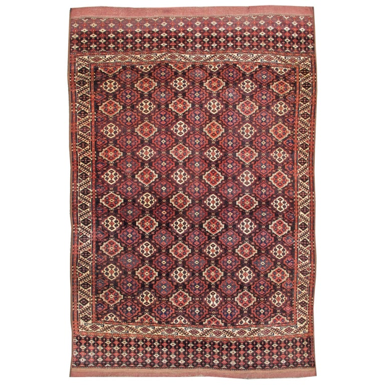 Late 19th Century Red Chodor Main Carpet with Light Highlights For Sale