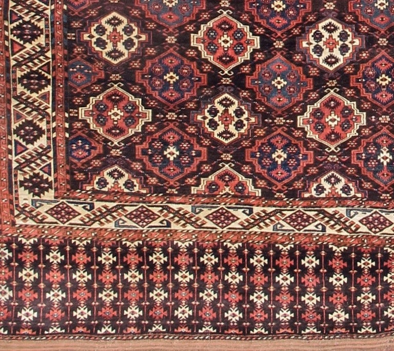 Wool Late 19th Century Red Chodor Main Carpet with Light Highlights For Sale