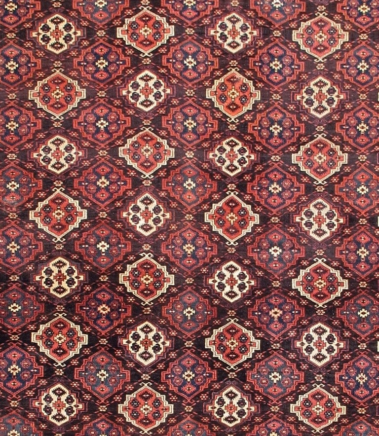 Turkmen Late 19th Century Red Chodor Main Carpet with Light Highlights For Sale