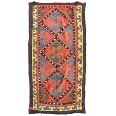 Early 20th Century Red and Blue Kyrgyz Felt Rug