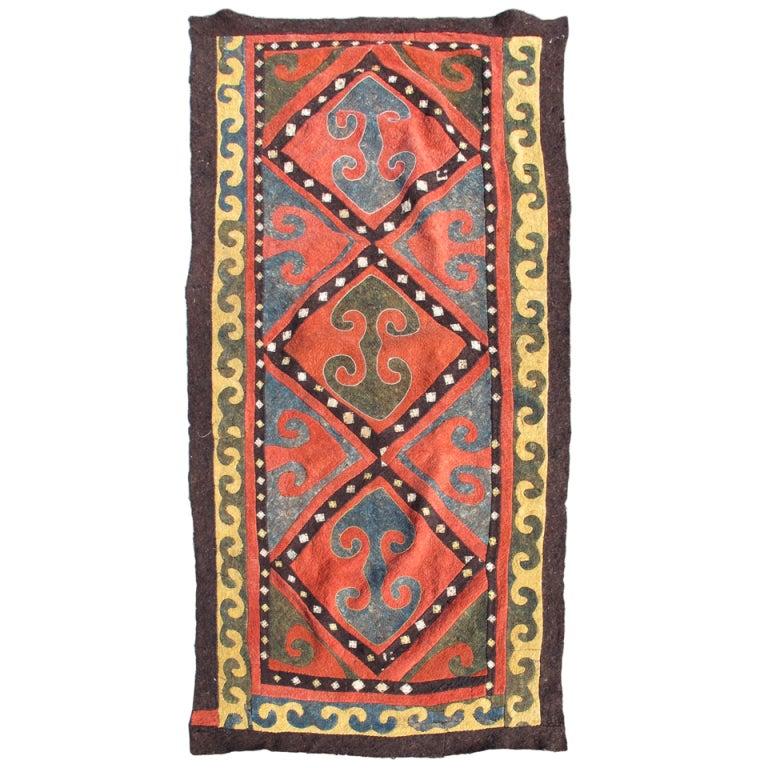 Early 20th Century Red And Blue Kyrgyz Felt Rug 1