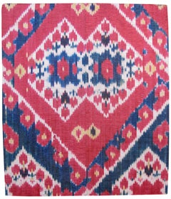 Late 19th Century Red Uzbek Silk Ikat Fragment Rug