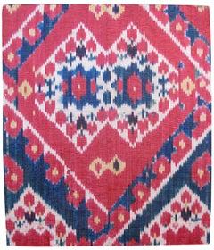 Late 19th Century Red Uzbek Silk Ikat Fragment Rug
