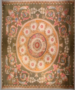 19th Century Persimmon-Gold Aubusson Carpet with Green Ground