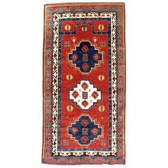 Late 19th Century Borjalu Kazak Red and Blue Caucasian Prayer Rug